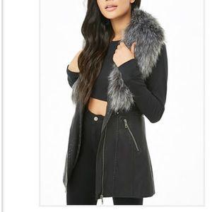 Faux fur lined faux leather vest